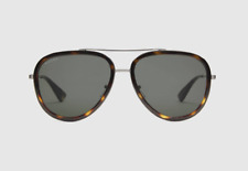 Gucci Black Aviator Metal Sunglasses Gold Metal With Black Rim Frame