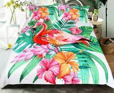 Bedclothes Set Duvet Cover Flamingo Tropical Plants Microfiber Fabric Bed Covers