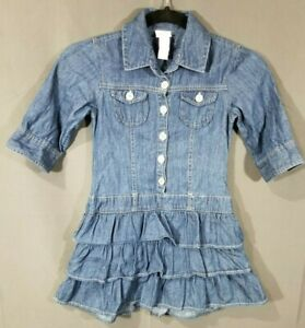 Girls Justice Denim Blue Dress 100% Cotton Sz 7 So Cute! * No Belt