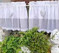 2Tlg Scheibengardine Bistrogardine Vorhang Landhaus Shabby Weiß Grau Karo 70/37