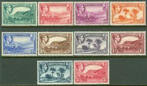 EDW1949SELL : MONTSERRAT 1938 Scott #92a-101a Cplt set. Perf 13. VF MOG. Cat $98