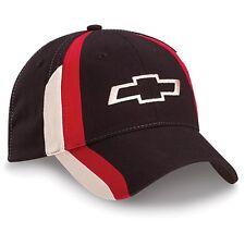 Chevrolet Chevy Bowtie Tri-Color Licensed Cotton Black Hat Stripes