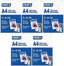 5x A4 Carta fotografica lucida carta patinata bianco brillante (50 FOGLI) - NUOVO