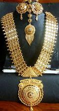 22K Gold Plated Indian Wedding 11'' Long Rani Haar Pakistani Necklace Earrings4