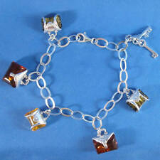 "7"" Baltic Amber .925 Sterling Silver Charm Bracelet Purse Keys"