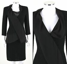 CHANEL 2 Pc BLACK BOUCLE BLAZER SKIRT JACKET SUIT CHIFFON TRIM Size 36 XS