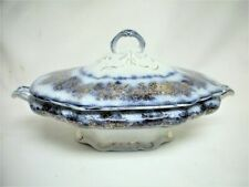 Antique Flow Blue Porcelain China SEVRES Covered CASSEROLE Serving Dish Old