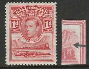 Basutoland 1938 1d Scarlet with Tower flaw SG 19a Mint.