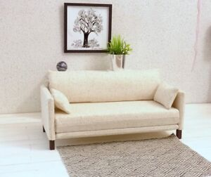 Modern Doll Sofa/only 1/6 scale in Creme color 2 matching pillows