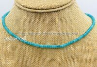 "Fashion Women's Natural 2x4mm Blue Aquamarine Rondelle Gemstone Necklace 18""AAA"