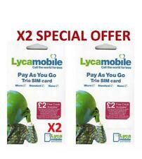2 x Lyca mobile Pay As You Go Triple COUPE Carte SIM Standard/Micro/Nano NEUF