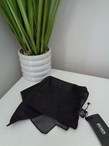 BNWT HUGO BOSS Charcoal Micro Pattern Pocket Square Handkerchief Hankie