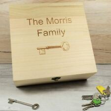 Engraved & Personalised Wood Keepsake Box - Family Key Box, Trinket Box Homeware