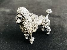 Solid Pewter Silver FRENCH POODLE Dog Puppy Silver Metal Figurine Statue