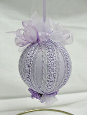 Handmade Christmas Tree Ornament Lavender & Orchid Bows & Flowers Made in Texas