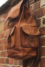 Vintage Brown Men's Leather Back pack shoulder Briefcase ruck sack laptop bag