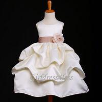 US Seller Ivory Baby Infant Princess Party Wedding Flower Girls Pick Up Dress