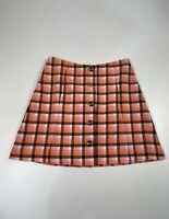 BNWT WOMENS MONKL SIZE 36 UK 8 ORANGE MIX CHECK CASUAL SUMMER SHORT LINE SKIRT