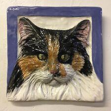 Longhair Cat Dog Ceramic Tile Handmade 3d Pet Portrait Sondra Alexander Art