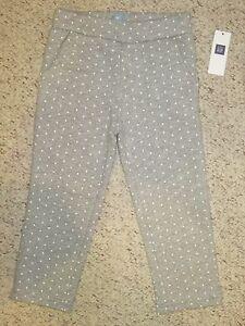 NWT Baby Gap Kids Girls Sweatpants Athletic Pants 4 Toddler Gray White Polkadot