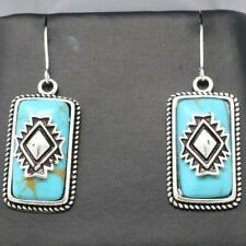 Vintage Antique Turquoise Earrings Sterling Silver Jewelry