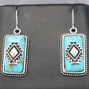 Sterling Silver Blue Turquoise Hook Earrings Natural Gemstone Handmade Jewelry