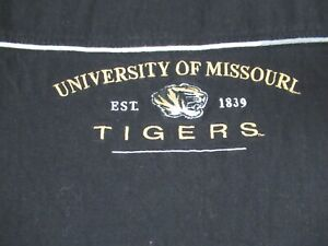 VINTAGE UNIVERSITY OF MISSOURI TIGERS EMBROIDERED LOGO BLACK LARGE T-SHIRT B990