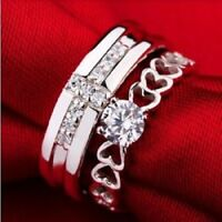 1.5CT Princess Silver Couple Rings Wedding Band His and Her Promise Ring