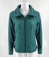 Columbia Womens Fleece Jacket Size Medium Green Zip Up Quilted Mixed Media