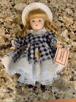 """Kingstate The Dollcrafter 16"""" Porcelain Doll Blonde Hair Blue Eyes Vintage Doll"""