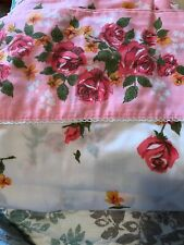 Vintage Full Flat Sheet Pink American Beauty Rose Floral Cannon Monticello