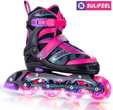 Sulifeel Arigena 4 Size Adjustable Light up Inline Roller Skates Girls and Boys