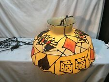 Vintage Mid Century Hanging Plastic Pool Table Light Casino Theme Cards and Dice