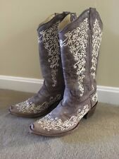 Corral Vintage Women's Floral Gray Embroidered Cowgirl Boots Size 8 Bone A1094