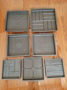 Pack of 2 plastic garden mould patio floor tile concrete driveway paving slab