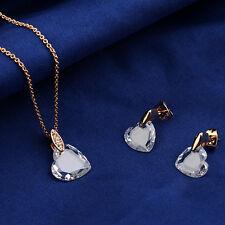 Corazón Amor Juego de Joyas Oro Rosa Chapado Cristal Conjunto collar pendientes