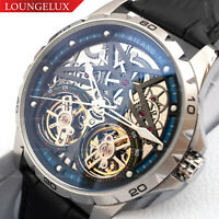 Mens Double Flywheel Open Heart Luxury Bling Skeleton Automatic Mechanical Watch