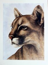 Sue Coleman Hand Signed Numbered Limited Edition Cougar Porftrait 1980's
