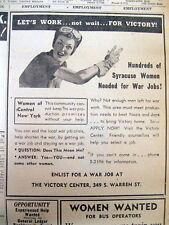 1944 WW II newspaper w Ad WOMEN NEEDED to WORK in INDUSTRY - ROSIE THE RIVETER