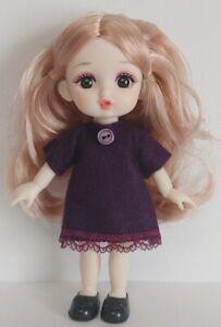16cm BJD Doll Clothes -Purple Felt DRESS Handmade 1/8 Fashion NO DOLL dolls4emma