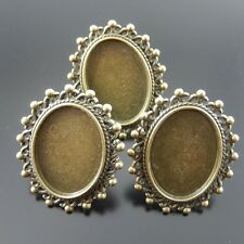 10PCs Antique Bronze Alloy Fashion Jewelry Adjustable Ring  Cameo Setting