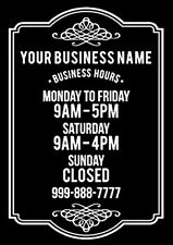 Hours Of Business Store Shop Personalized Custom Text Vinyl Window Decal Sticker