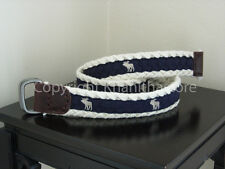Abercrombie & Fitch Men Cotton Moose with 2 Metal Rings Buckle Belt