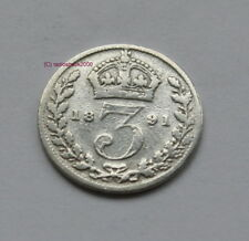 Queen Victoria 1891 Silver 3d threepence thrupence. 92.5% (Sterling) silver
