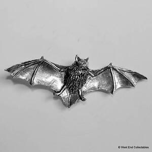 Bat in Flight Pewter Pin Brooch -British Handmade- Vampire Halloween Gothic