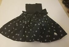 Abercrombie & Fitch A&F Gemma Dress Smocked Navy Blue Anchors Bow EUC Size XS