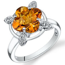 14 Kt White Gold 2.9 cts Citrine and Diamond Ring R61814