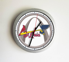 St Louis Missouri Sport Fan Teams Mashup Combined Logo Art Modern Wall Clock 11""