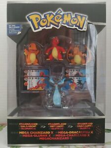 Pokemon Charizard, Charmander, Charmeleon, & Mega Charizard X Tomy evolution set
