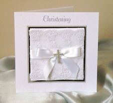 personalised christening invitation white silver and lace trimmed (c.misc)